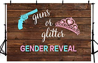 MEHOFOTO 7x5ft Guns or Glitter Gender Reveal Backdrop Wooden Studio Photography Props Rustic Brown Wood Blue or Pink Boy or Girl Baby Shower Party Photo Shoot Booth Background Banner