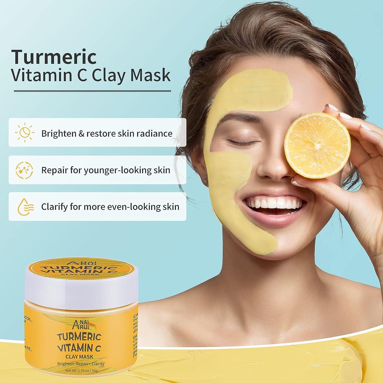 ANAIRUI Turmeric Vitamin C Facial Mask Set Clarifying Clay Mask, Purifying Peel Off Mask, Hydrating Wash-Off Ice Cream Mask, for Acne & Dark Spots, Oily Skin, Facial Spa Treatment 1.75 oz × 3 ea