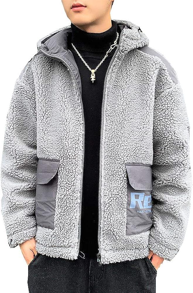 Arlita Men's Fuzzy Sherpa Fleece Hooded Jacket Open Front Cardigan Coat with Pockets