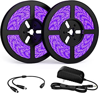 Onforu 33ft LED UV Black Light Strip Kit, 600 Units UV Lamp Beads, 12V Flexible..