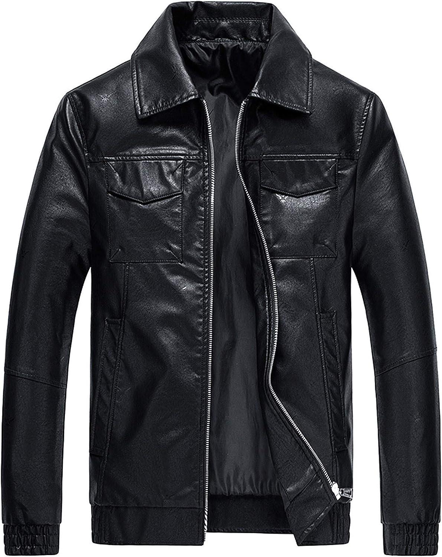 Men Leather Jackets,Vintage Classic Leather Zip Up Biker Bomber Jacket V1527