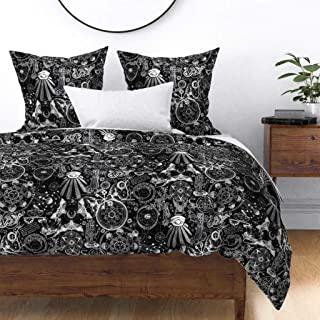 Roostery Duvet Cover, Occult Black White Planchette Moth Moon Witch Magic Alchemy Gothic Zodiac Astrology Print, 100% Cotton Sateen Duvet Cover, King
