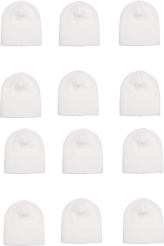 OPT Brand. Wholesale 12 PCS Unisex Knit Short Plain Ribbed Beanie Ski Cap Skull Hat Warm Solid Winter New Blank