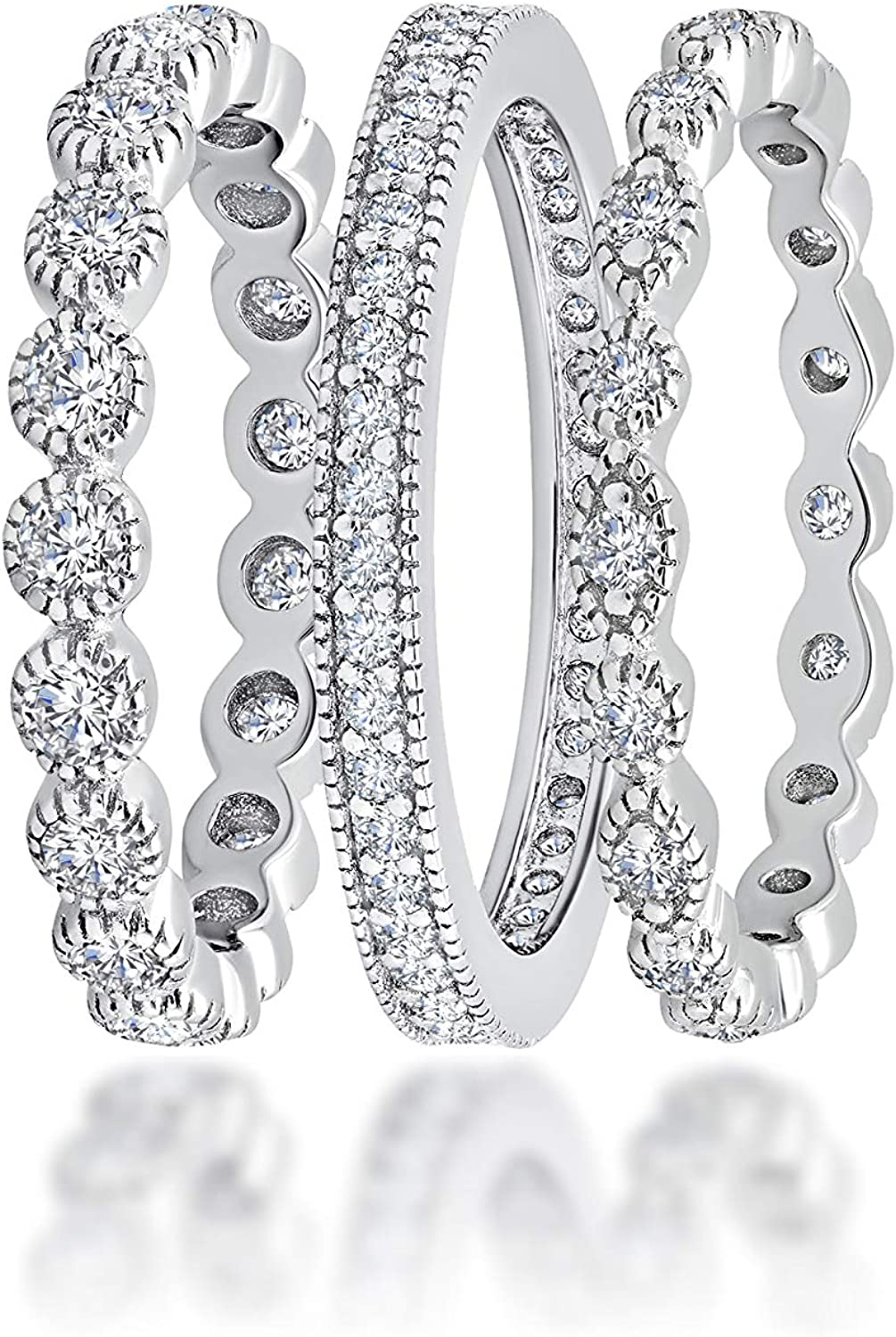 3 Fashion Piece CZ Eternity Stackable Ba or Engagement Wedding 70% OFF Outlet