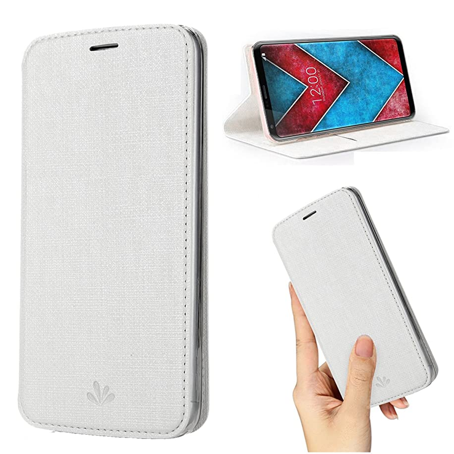 LG V30 Case,LG V35 ThinQ/V30S ThinQ/V30 Plus Case,Premium Flip Leather Wallet Phone Case With Stand Card Slot Magnetic Full Body Shockproof Protective Inner Clear TPU Cover for LG V35 Thin (White)