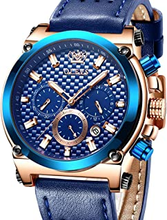 Men Sports Leather Watches Luxury-Classic Blue Black Brown Watch with 3 Chronographs Quartz Analog, Crown Waterproof Date Clock for Business & Casual & Luminous