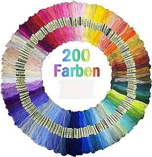 200 Farben Stickgarn Embroidery Floss Perfekt für Bracelets Stickerei Basteln Crafts Set 8M Threads Nähgarne Häkeln