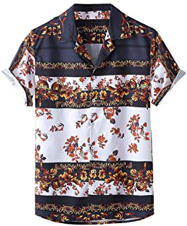 Sceoyche Men Summer Fashion Shirts Casual Printed Shirts Short-Sleeve Top Blouse