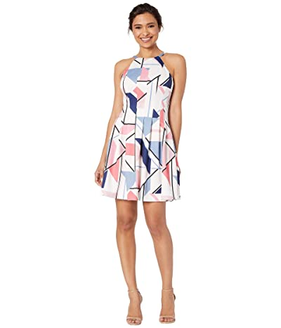 Vince Camuto Printed Halter Fit and Flare Dress (Coral Multi) Women