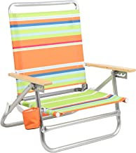 PORTAL Aluminum Lightweight 4-Way Hi Back Folding Beach Chair, Classic Wood Handle Camp Chair with Cup Holder and Padded Carry Shoulder Strap