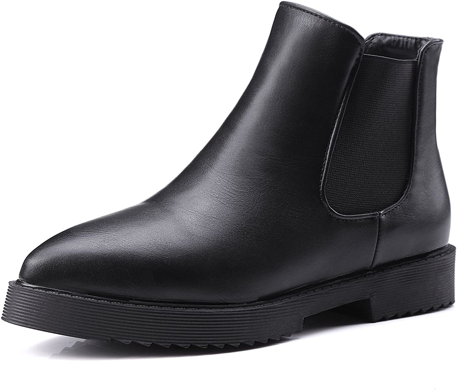 DoraTasia Black Pointed Toe Ankle High Women's Slip on Flat Boots