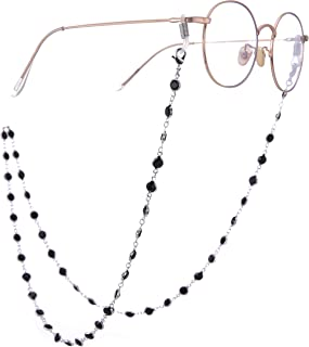 LIKGREAT Shiny Rhinestone Eyeglass Chain Holder for Women Long Necklace Sunglass Cords