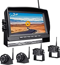 """$445 » Xroose Backup Camera Wireless with DVR 9"""" FHD Monitor for Truck RV Trailer Rear Side View Reversing 4 Back Up Camera W/Bui..."""