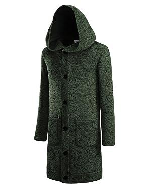 NEARKIN Mens Fleece Slim Cut Look 6 Button Hoodie Long Cardigan