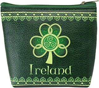 Clip Purse Ireland Shamrock Spiral with a Green and Yellow Celtic Design