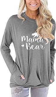 Women Mama Bear Shirt Loose Casual Tops T-Shirts Crew Neck Batwing Sleeve Sweatshirt Patches Blouse