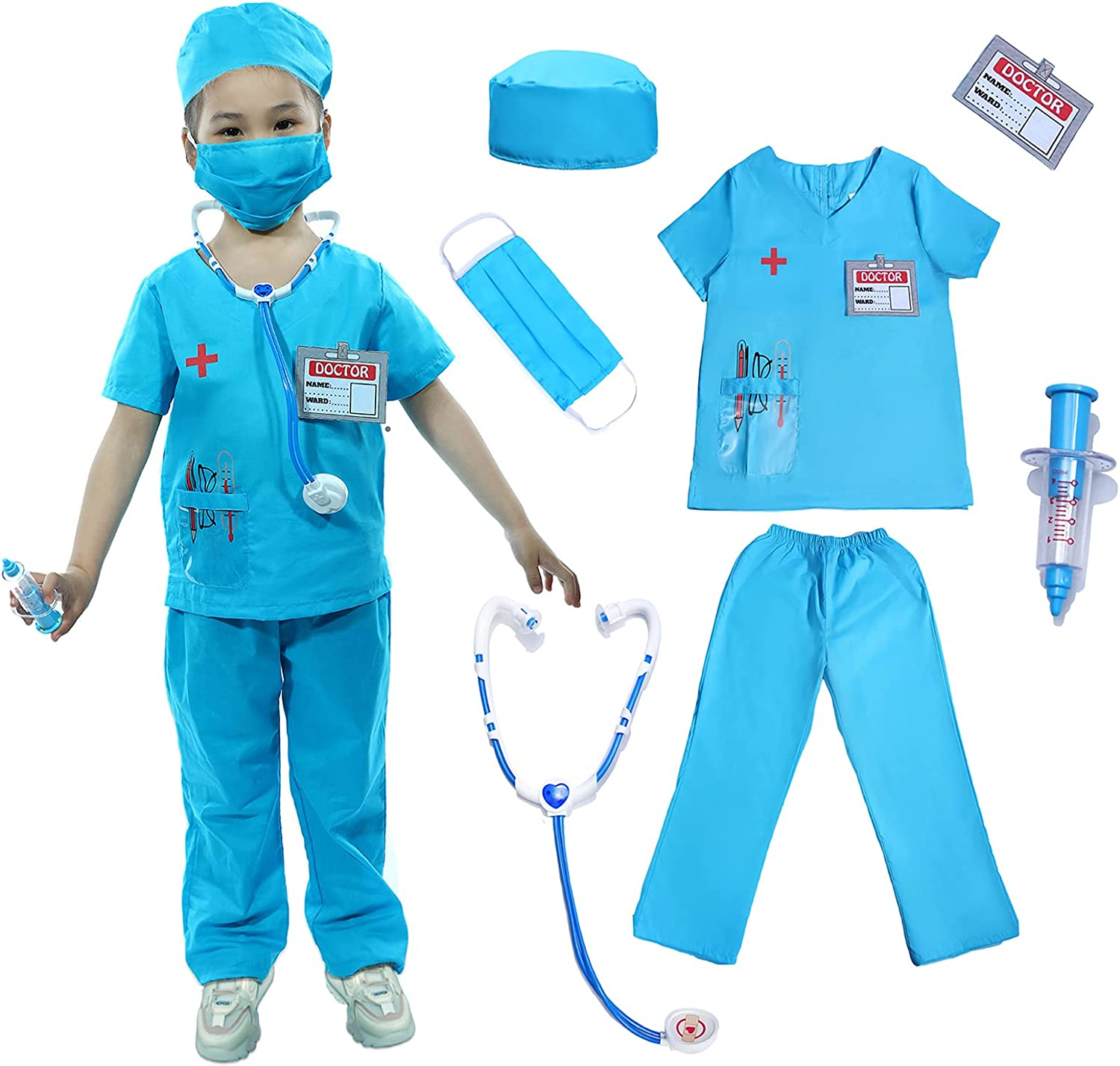 Kids Scrubs for Girls Doctor Costume 7pcs Play Max 77% OFF New Free Shipping Kit Wbesty -