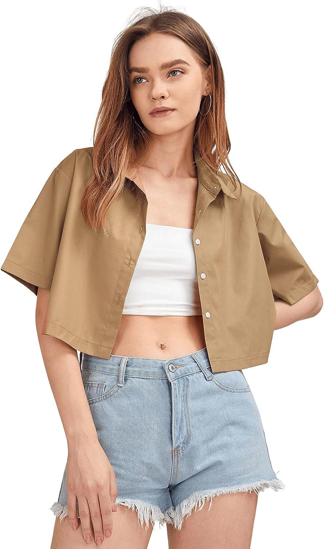 SweatyRocks Women's Short Sleeve Button Down Collar Crop Blouse Shirt Top