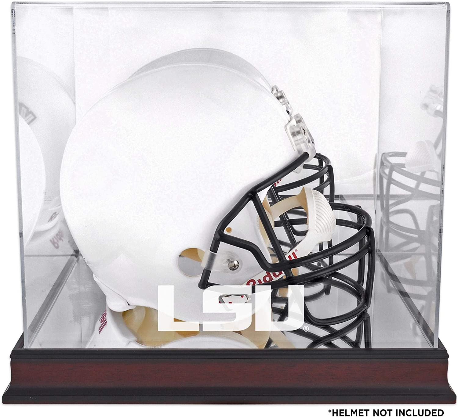 LSU Tigers Mahogany Helmet Logo Display Super Special SALE held Back - Case Mirror with Quantity limited