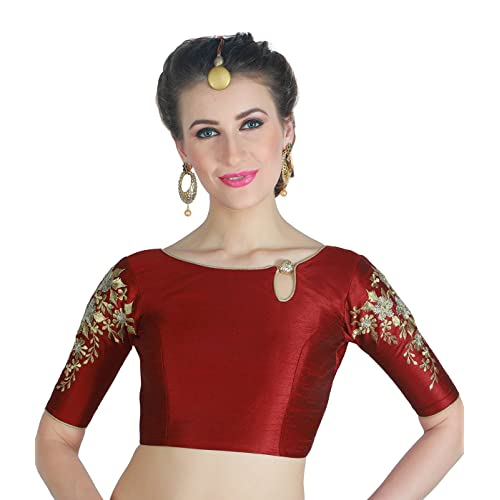 260d3a322a0a5f STUDIO SHRINGAAR WOMEN'S POLY RAW SILK MAROON READYMADE SAREE BLOUSE WITH  SLEEVES EMBROIDERY