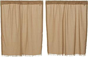 "VHC Brands Tobacco Cloth Window Curtains (36"" Tiers, Khaki)"