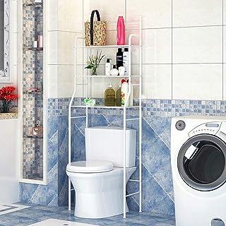 Mueble Estantería Baño Encima WC 3 Niveles para Toalla de Baño Organizador de Artículos de Tocador (Blanco)