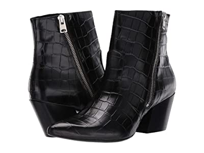 AllSaints Aster Ankle Boot (Black Croc) Women