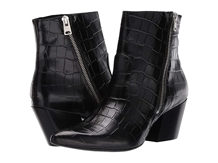 AllSaints  Aster Ankle Boot (Black Croc) Womens Boots