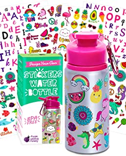 Best Purple Ladybug Decorate Your Own Water Bottle for Girls Craft Kit with Tons of Fun On-Trend Stickers - BPA Free, Kids Water Bottle - Great Girl Gift Idea, Fun Creative DIY Kids Arts & Crafts Activity Review