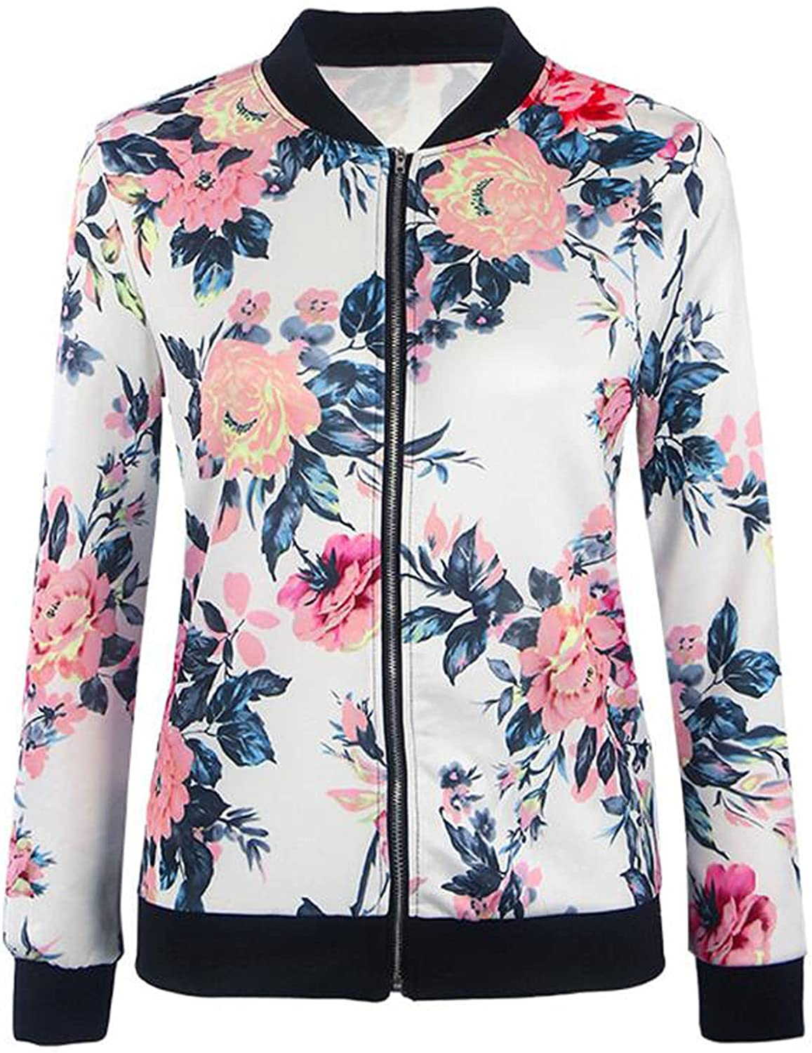 VonVonCo Dressy Tops for Women Vintage Long Sleeve Floral Printing Zipper Up Jacket Casual Tops Coat Outwear