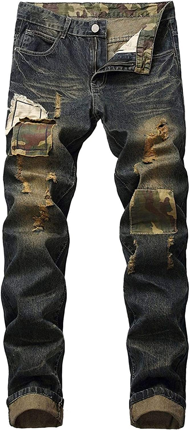 Men's Slims Relaxed Fit Straight Leg Jean Fashion Personality Ripped Retro