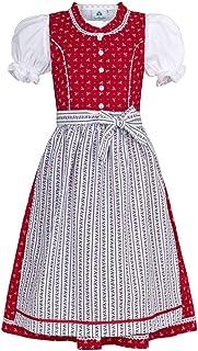 Isar-Trachten Mädchen Kinderdirndl rot mit Bluse, ROT, 80
