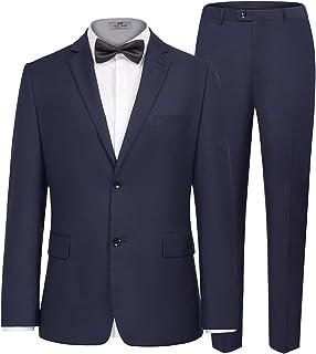 PAUL JONES Men's Classic Two Button Suits Slim Fit 2 Pieces Dress Suit Jacket Pants Vest
