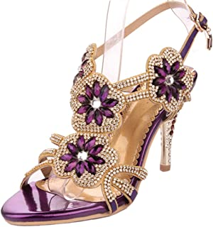Women Glitter Strappy Sandal Rosette Dress Sandals Evening High Heels Wedding Heeled Sandal Shoes