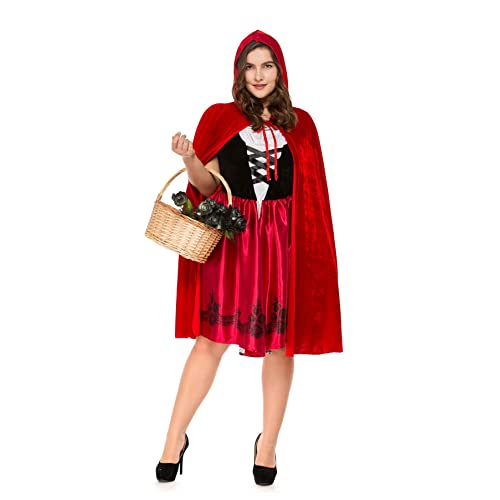 71a31d336b8 YuStar Women s Little Red Riding Hood Plus-Size Dress Halloween Cosplay  Party Fancy Costume