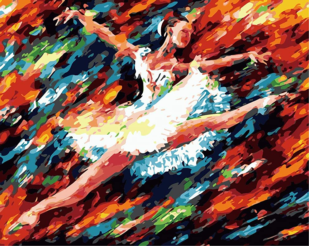 DIY Oil Painting, Paint by Number Kit for Adult 16 by 20-Inch (Dance Girl)