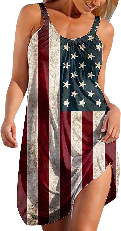 ORT Summer Dresses for Women Beach Floral Sundress American Flag Patriotic Dress Sleeveless Casual Short Tank Dress