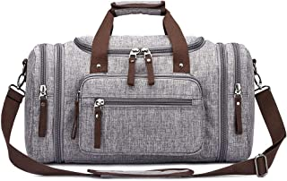 Toupons Men's Travel Duffle Bag Weekender Overnight Bag Water-resistance (Grey-New)