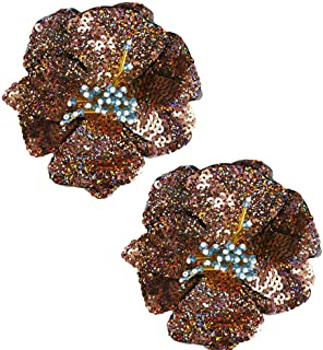 2 pcs Blue/Gold/Green Sequins Patch DIY Flower Beaded Patches for Clothes Sew On Paillette Embroidered Patch Motif Applique (Gold)
