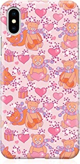 Loud Universe Case for iPhone XS Wrap around Edges Teddy Bear Love Valentines Day Couples Love Heart Pattern Sleek Design ...