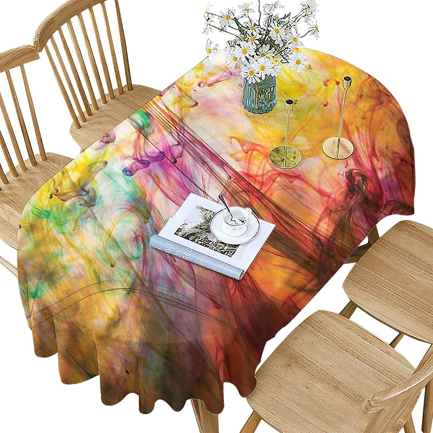 Modern Polyester Oval Tablecloth Manufacturer direct At the price delivery Rainbow Pattern Colored P Image