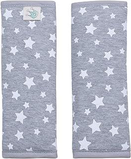 JANABEBE Gurtpolster Universal für Babyschale, Buggy, Autositz White Star, 17 x 18