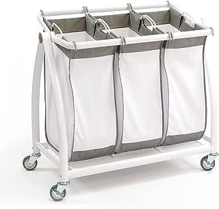 Seville Classics Premium 3-Bag Heavy-Duty Tilt Laundry Hamper Sorter Cart, 34.4