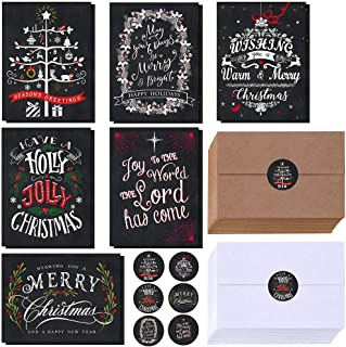 $26 » Winlyn 120 Sets Christmas Cards Holiday Cards with Envelopes Stickers Assortment Bulk 6 Designs of Chalkboard Merry Christmas Cards Vintage Blank Holiday Greeting Cards for Xmas Season Festival