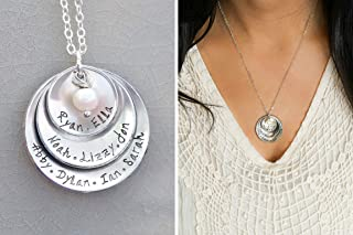 Personalized Grandmother Necklace - Handstamped Mom Gift - 5/8 7/8 1 1/8 inch Cupped Discs - Custom Names, Pearl or Birthstone Color - DII ABC