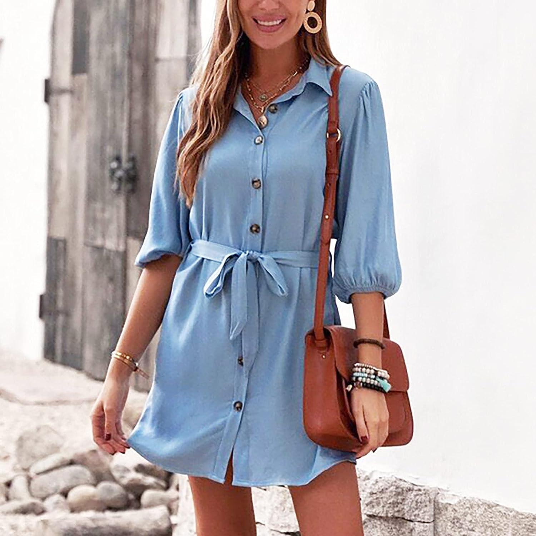 Sun Dresses Women Summer Women's Dress Solid Color Mid-Waist Loose Dress Street Cotton Denim Blue Dress Womens Dresses