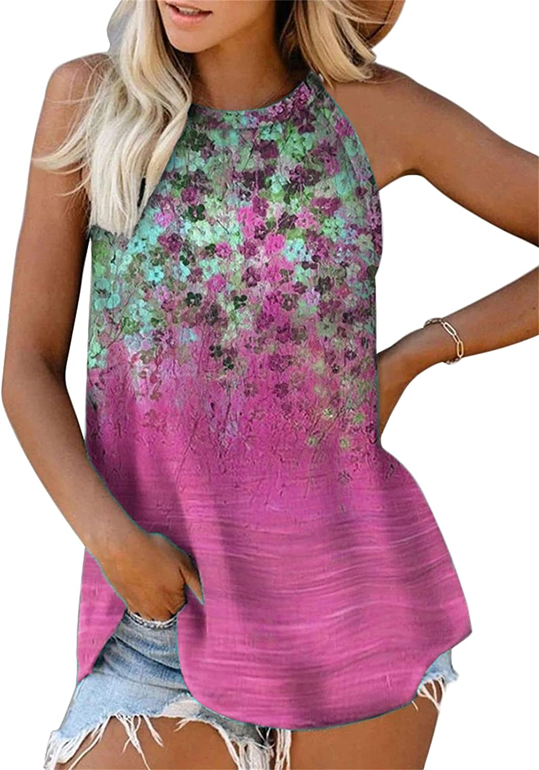 Andongnywell 5 popular Womens Mail order cheap High Round Neck Sleeveless Loose Com Printed
