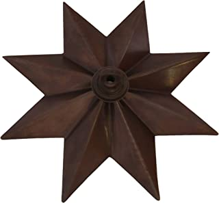 RCH Hardware CN-11-BRZ CN-11-S-H-BRZ Solid Brass Decorative Star Shaped Ceiling Canopy Medallion Accent for Chandeliers and Pendant Lighting with Matching Screw Collar and Loop Bronze