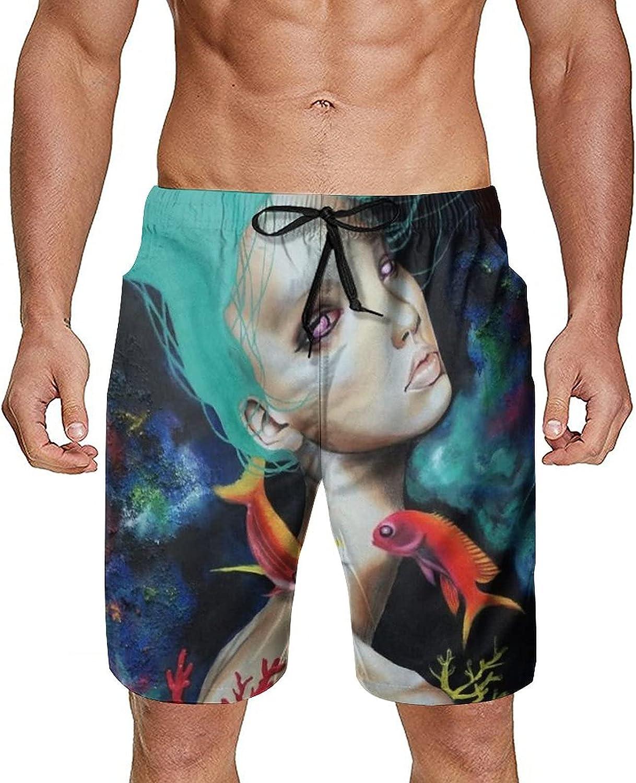 NiYoung Men's Beachwear Summer Swim Trunks Quick Dry Board Shorts with Pocket