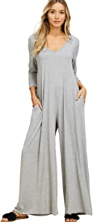 Annabelle Women's Comfy 3/4 Sleeve V-Neck Wide Legs Palazzo Pants Romper Hoodie Jumpsuits